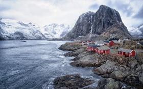 Картинка Норвегия, горы, дома, море
