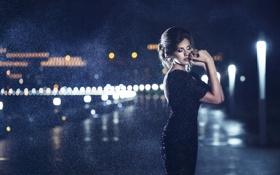 Картинка девушка, city, город, дождь, ночные огни, girl, шатенка