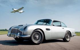 Картинка небо, Aston Martin, купе, самолёт, классика, Джеймс Бонд, передок