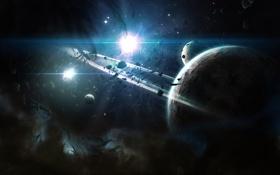 Обои обломки, планеты, пыль, кольца, звездная