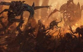 Обои тираниды, Warhammer 40k, tyranids, восстание, брудлорд, тригон