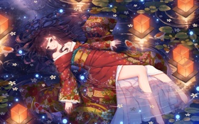 Картинка вода, девушка, рыбки, цветы, аниме, арт, фонари