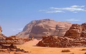 Картинка песок, небо, скала, камни, люди, скалы, ветер