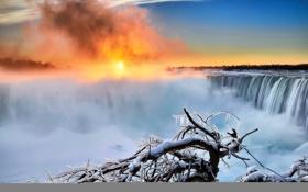 Картинка зима, рассвет, утро, Ниагара, Канада, Онтарио