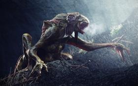 Обои земля, монстр, зубы, лапы, пещера, слизкий