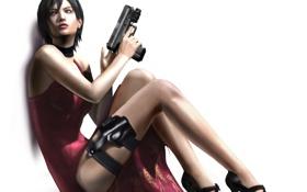 Картинка оружие, Девушка, платье, сидит, resident evil 4, ada wong