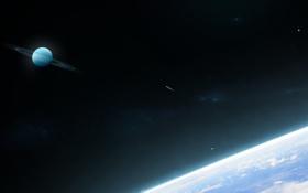 Обои поверхность, кольца, атмосфера, комета
