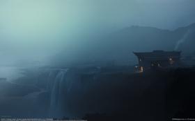 Картинка ночь, туман, дом, водопад, фэнтези, Home, CG wallpapers