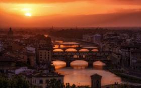 Обои закат, мост, город, река, дома, Флоренция, Italy