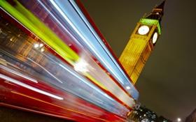 Обои улица, Лондон, выдержка, автобус, big ben, photo, photographer