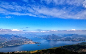 Обои море, небо, облака, горы, природа