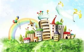 Обои art, дома, рисунок, птицы, радуга, шарики