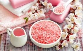 Картинка цветы, полотенце, мыло, яблоня, спа, соль