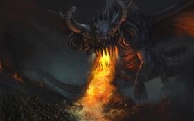 Обои огонь, армия, арт, нападение, монстр, дым, дракон