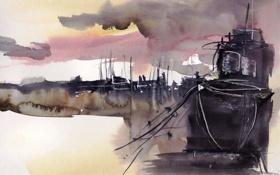 Картинка корабль, картина, акварель
