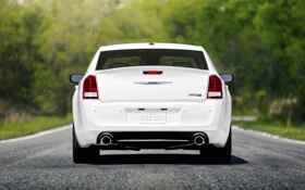 Обои Авто, Дорога, Белый, Chrysler, Асфальт, 300c, Багажник