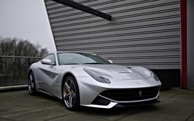 Картинка серебристый, Ferrari, суперкар, Маранелло, F12Berlinetta
