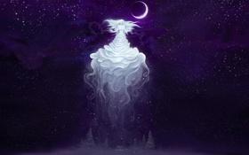 Обои холод, звезды, снег, ночь, фантастика, луна, арт