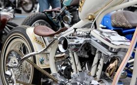 Картинка мотоцикл, седло, chopper, bike, мотор, motor, белый мотоцикл
