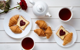 Обои rose, breakfast, croissant, heart, love, завтрак, coffee