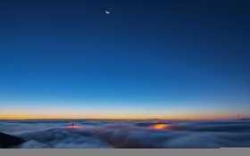 Обои moon, twilight, night, san francisco, fog, usa, golden gate
