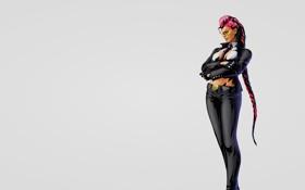Картинка девушка, очки, коса, серый фон, viper, уличный боец, street fighter