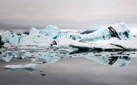Обои ледник, айсберги, лед, природа