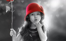Обои Rose, Red, black, child, red, girl, kiss