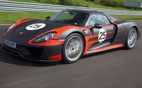 Картинка Порше, гоночный трек, передок, Porsche, 918, Spyder, фон
