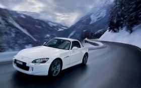 Обои s2000, car, едет, автомобиль, картинка, зима, хонда