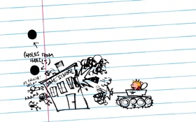 Обои танк, выстрел, здание, рисунок, тетрадь