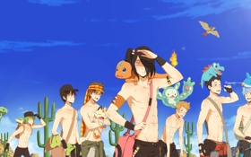 Картинка животные, небо, солнце, огонь, птица, пустыня, аниме
