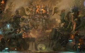 Обои металл, механизм, роботы, арт, пар, музыкальные инструменты, оркестр