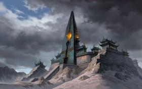 Обои горы, jade dynasty, снег, башня, храм