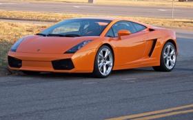 Обои галлардо, оранжевый, orange, lp540-4, lamborghini, дорога, ламборгини