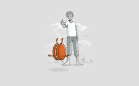 Обои игрушка, ситуация, минимализм, вектор, мальчик, иллюстрация