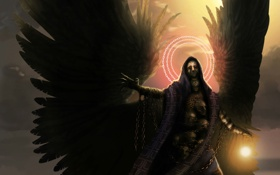 Обои магия, крылья, мужчина, цепи