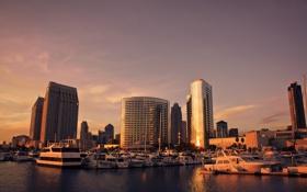 Обои закат, сан диего, usa, Skyline, sunset, San Diego