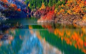 Картинка осень, деревья, горы, склон, отражение, озеро