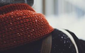 Картинка зима, снежинки, шарф