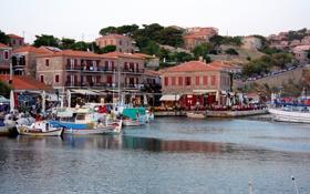 Обои побережье, дома, лодки, кафе, Турция
