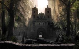Обои лес, скалы, ворота, храм