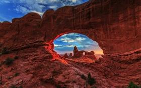 Картинка небо, свет, закат, люди, скалы, Природа, Юта