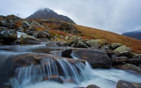 Обои ручей, камни, гора, речка