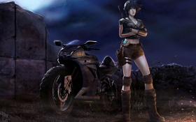 Картинка Девушка, искры, мотоцикл, ночь, свет, поза