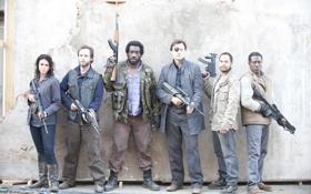 Картинка группа, стена, The Walking Dead, актеры, сериал, Ходячие мертвецы