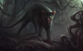Обои кот, монстр, заросли, cloudminedesign, корни, пасть, арт
