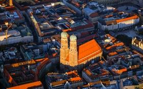 Обои башня, дома, Германия, Мюнхен, Бавария, панорама, Фрауэнкирхе