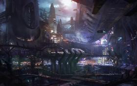 Обои ночь, город, огни, транспорт, корабли, мегаполис, concept art