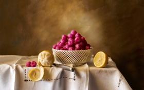 Обои ягоды, малина, стол, лимон, нож, посуда, фрукты